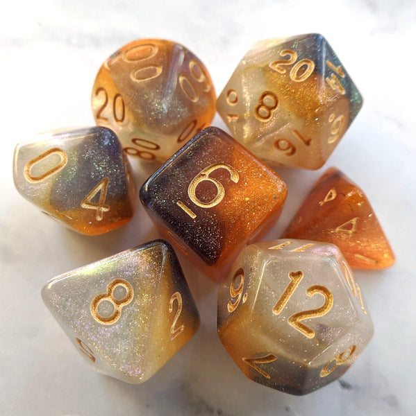 Cat Claws Dice Set. Orange, White, and Black Marbled Micro Shimmer
