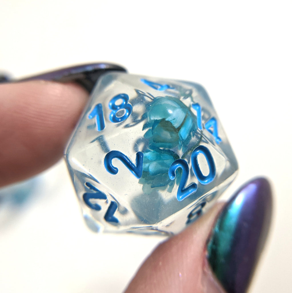 Blue Flower DnD Dice Set, Real Dried Flowers - CozyGamer