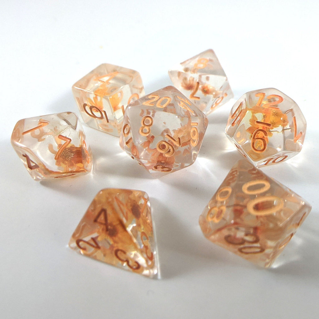 Orange Flower DnD Dice Set, Real Dried Flowers - CozyGamer