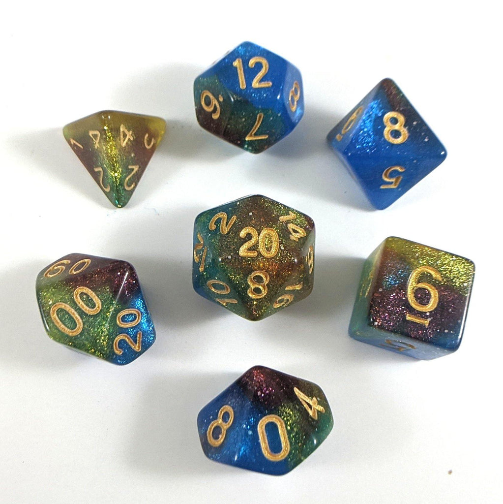 Helix Nebula Dice Set. Blue, Yellow, and Red Marbled Micro Shimmer - CozyGamer
