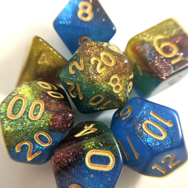 Helix Nebula Dice Set. Blue, Yellow, and Red Marbled Micro Shimmer