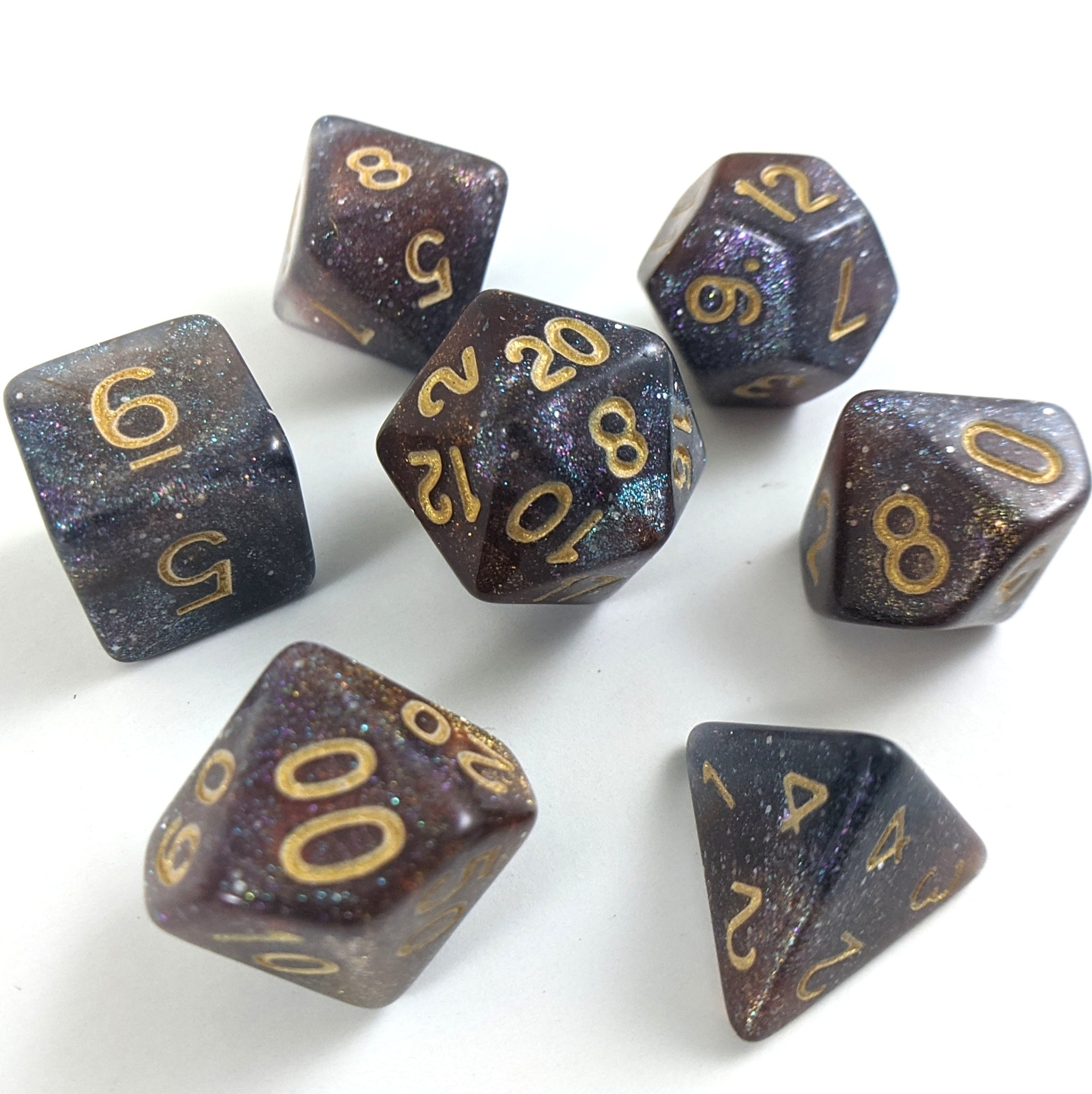 Pinwheel Galaxy Dice Set. Purple Blue and Copper Marbled Micro Shimmer