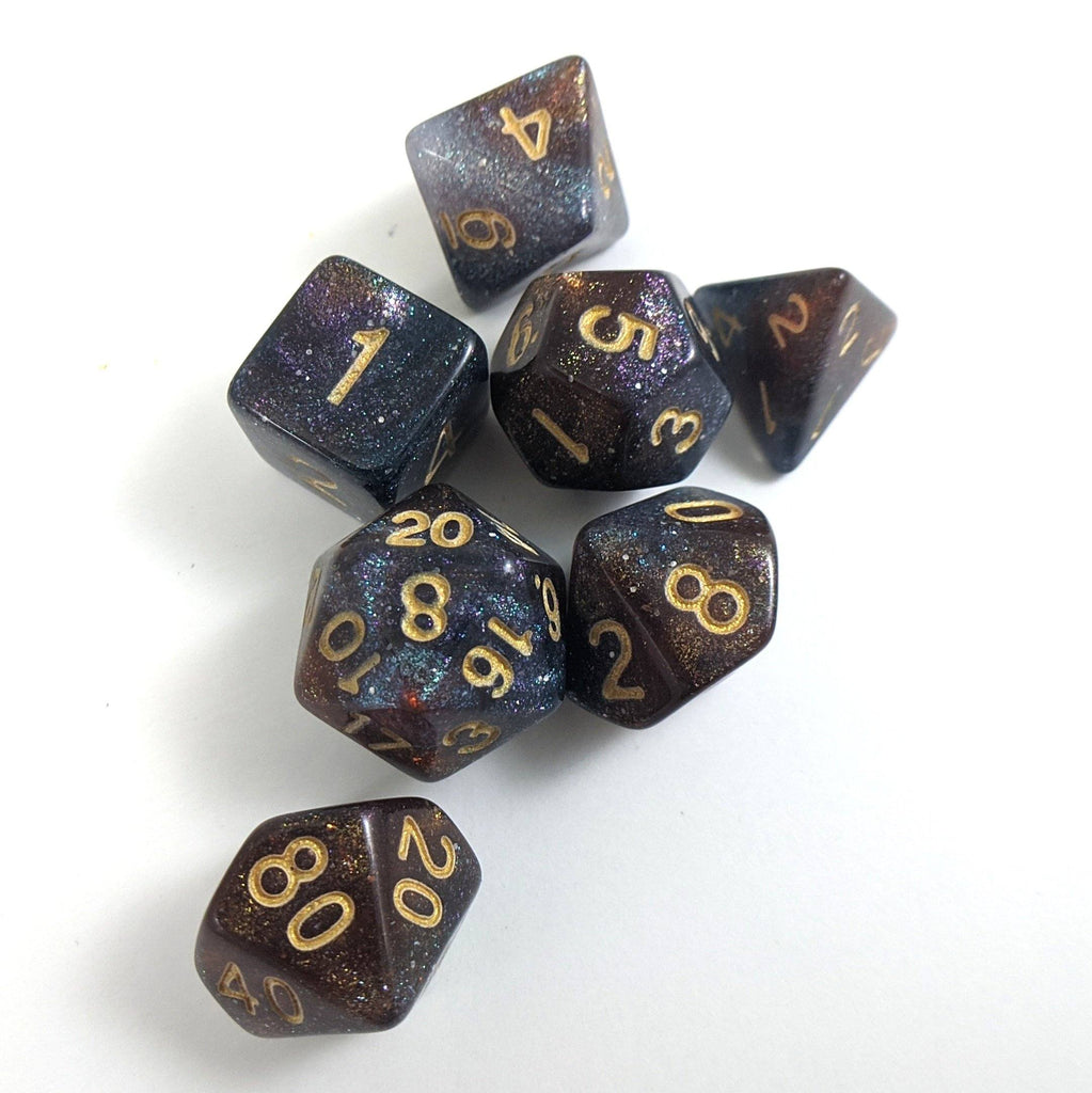 Pinwheel Galaxy Dice Set. Purple Blue and Copper Marbled Micro Shimmer - CozyGamer