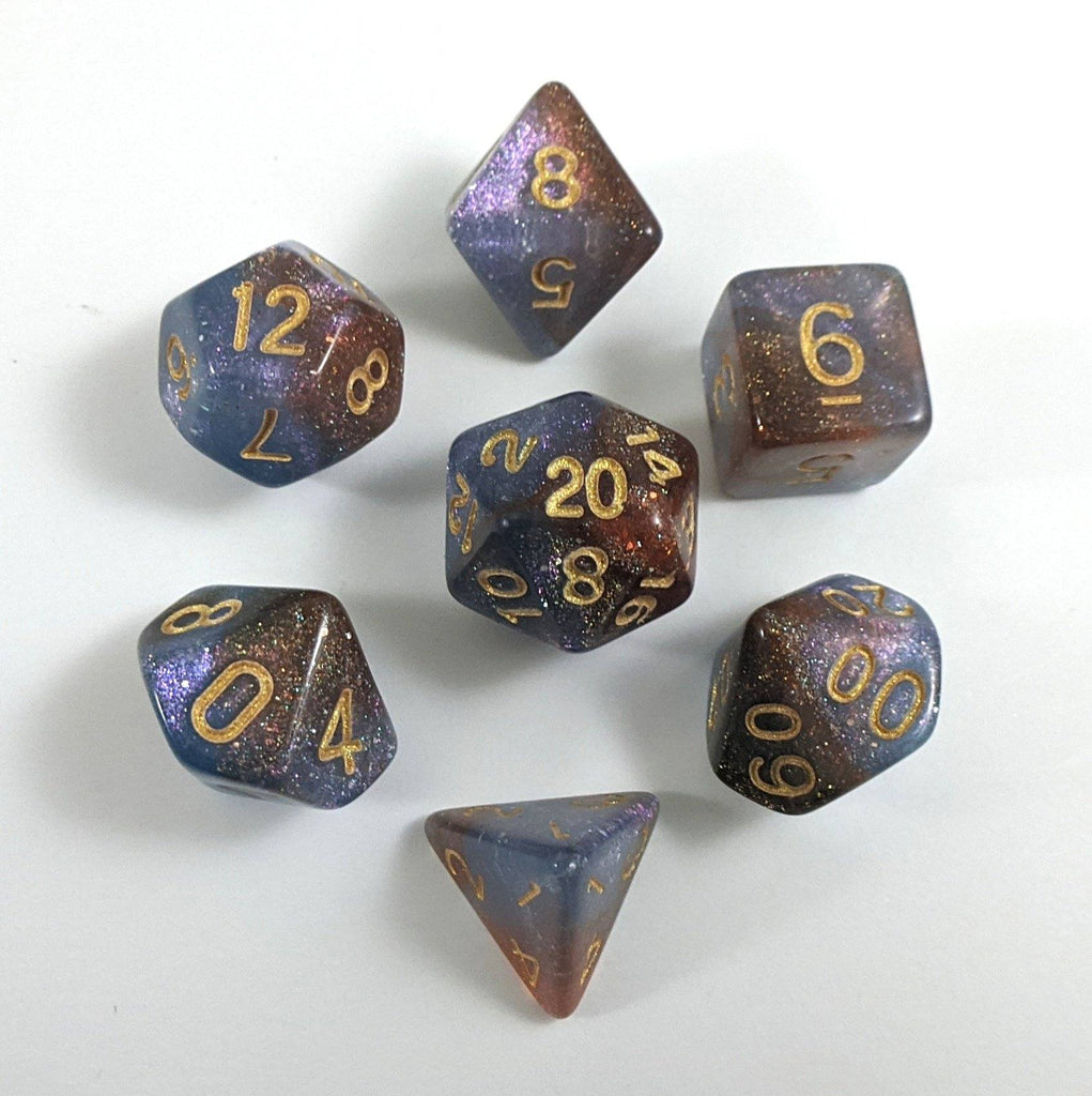 Orion Nebula Dice Set. Lavender Purple and Maroon Marbled Micro Shimmer - CozyGamer