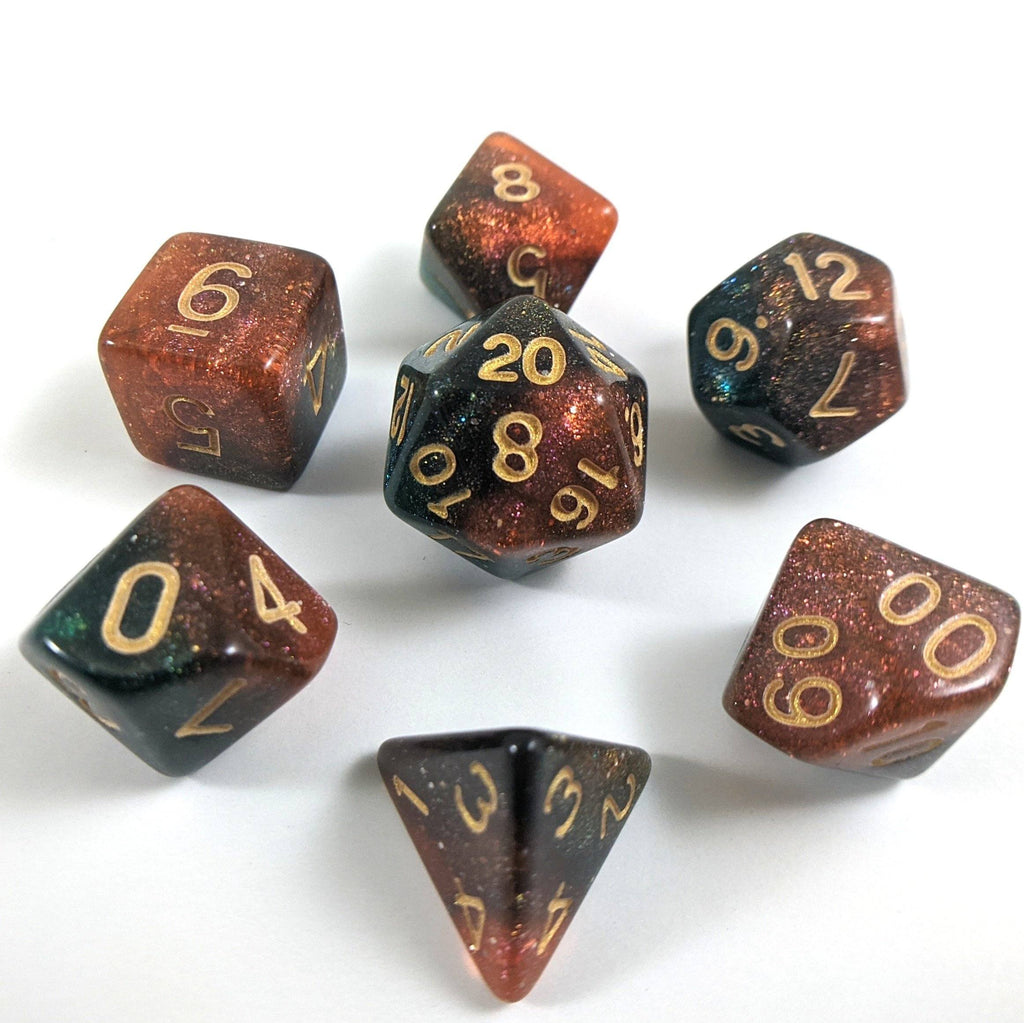 Carina Nebula Dice Set. Orange and Green Marbled Micro Shimmer - CozyGamer