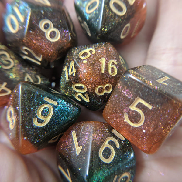 Carina Nebula Dice Set. Orange and Green Marbled Micro Shimmer