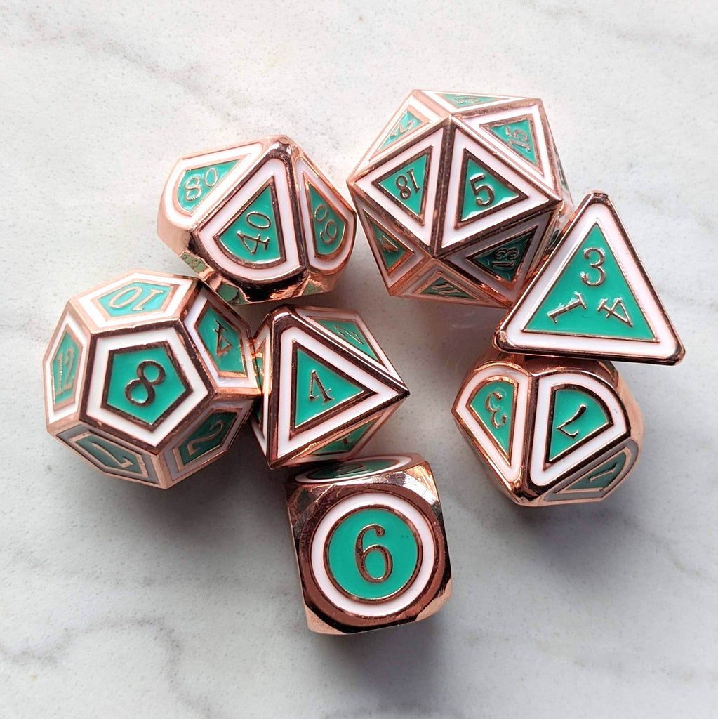 Eternal Metal Dice Set. Copper Plated Green and White - CozyGamer