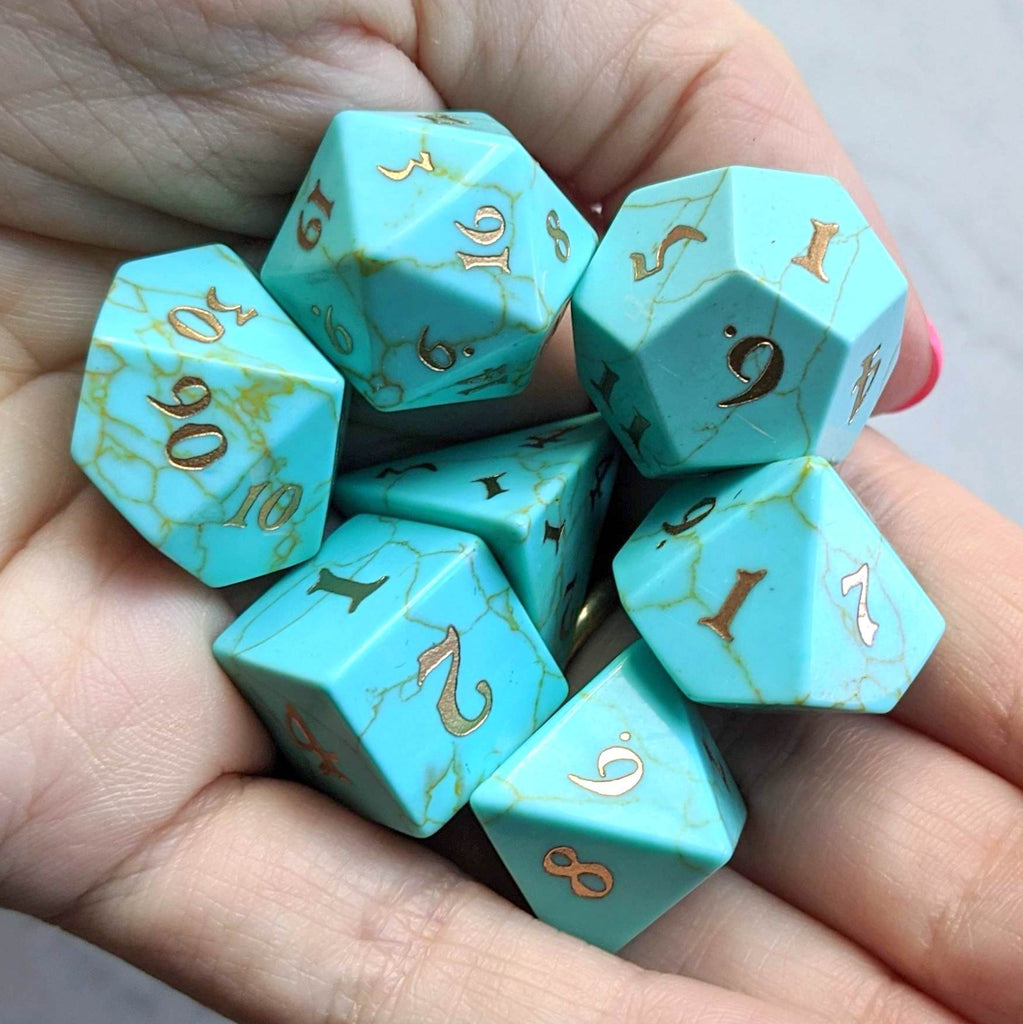 Turquoise Dice Set. Real Gemstone 7 Piece TTRPG Dice - CozyGamer