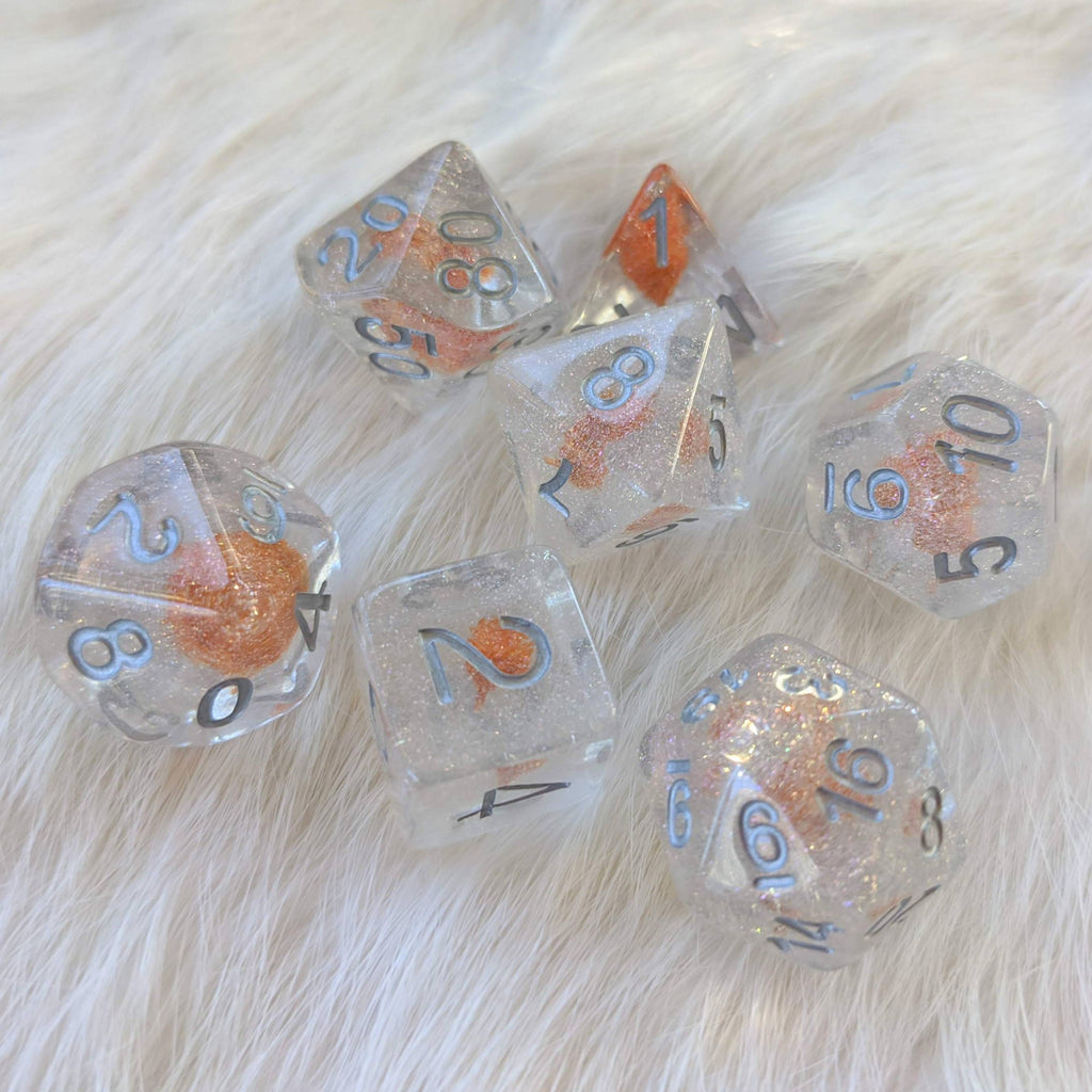 Orange Hidden Flower DnD Dice Set - CozyGamer