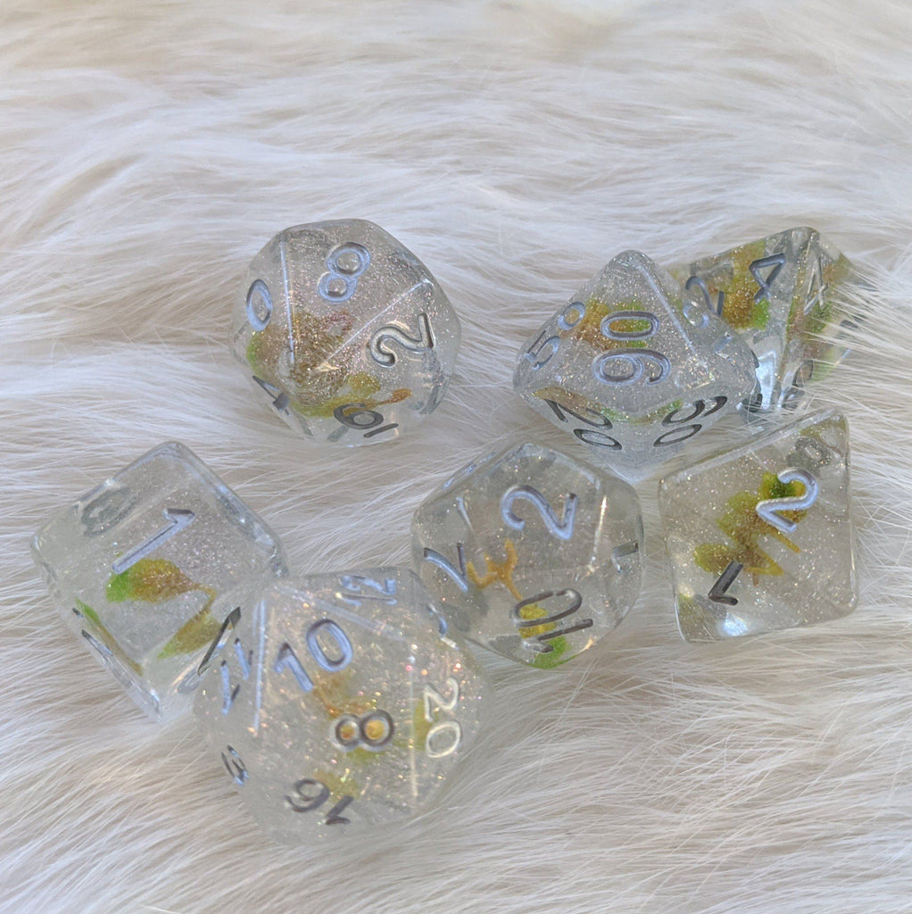 Green Hidden Flower DnD Dice Set - CozyGamer
