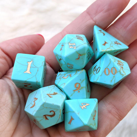 Turquoise Dice Set. Real Gemstone 7 Piece TTRPG Dice