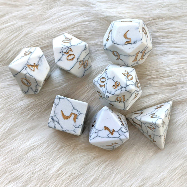White Howlite Dice Set. Real Gemstone 7 Piece TTRPG Dice