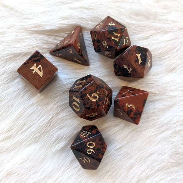 Mahogany Obsidian Dice Set. Real Gemstone 7 Piece TTRPG Dice