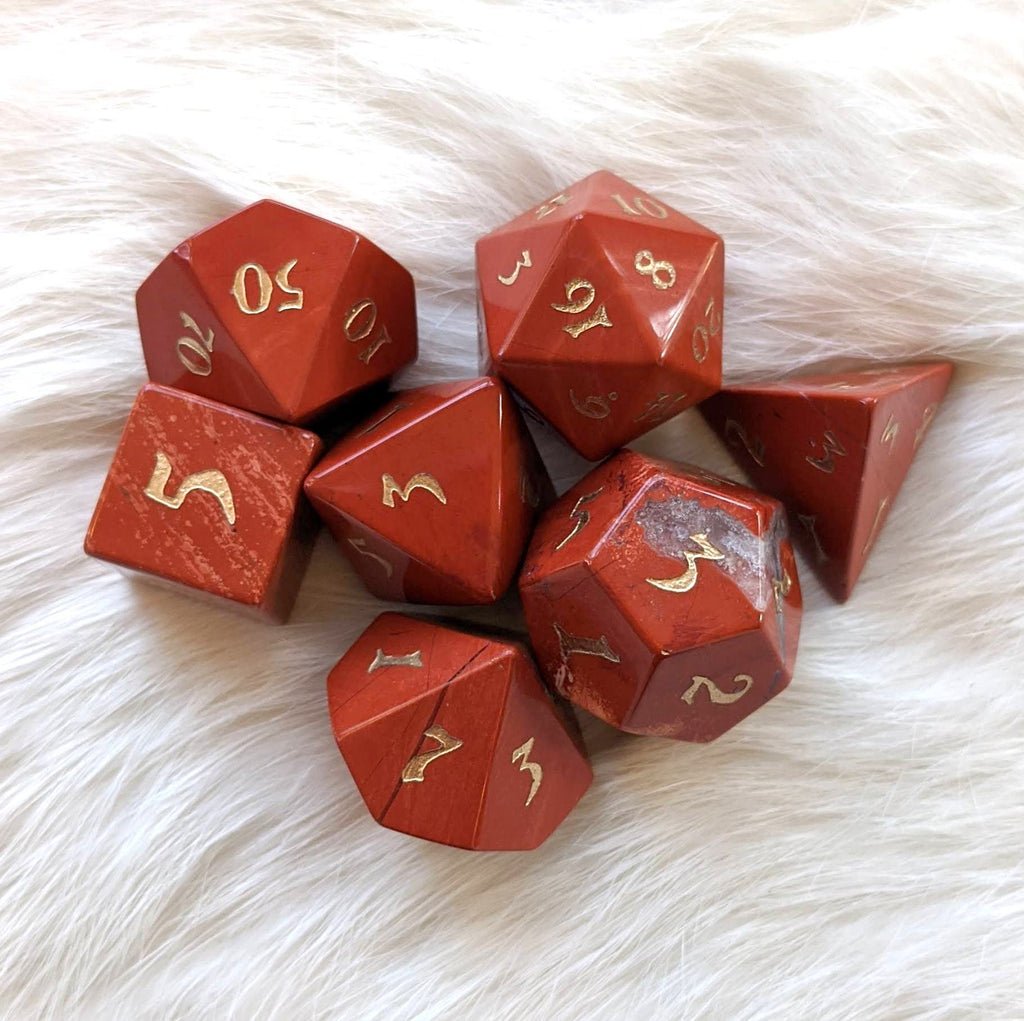 Red Jasper Dice Set. Real Gemstone 7 Piece TTRPG Dice - CozyGamer