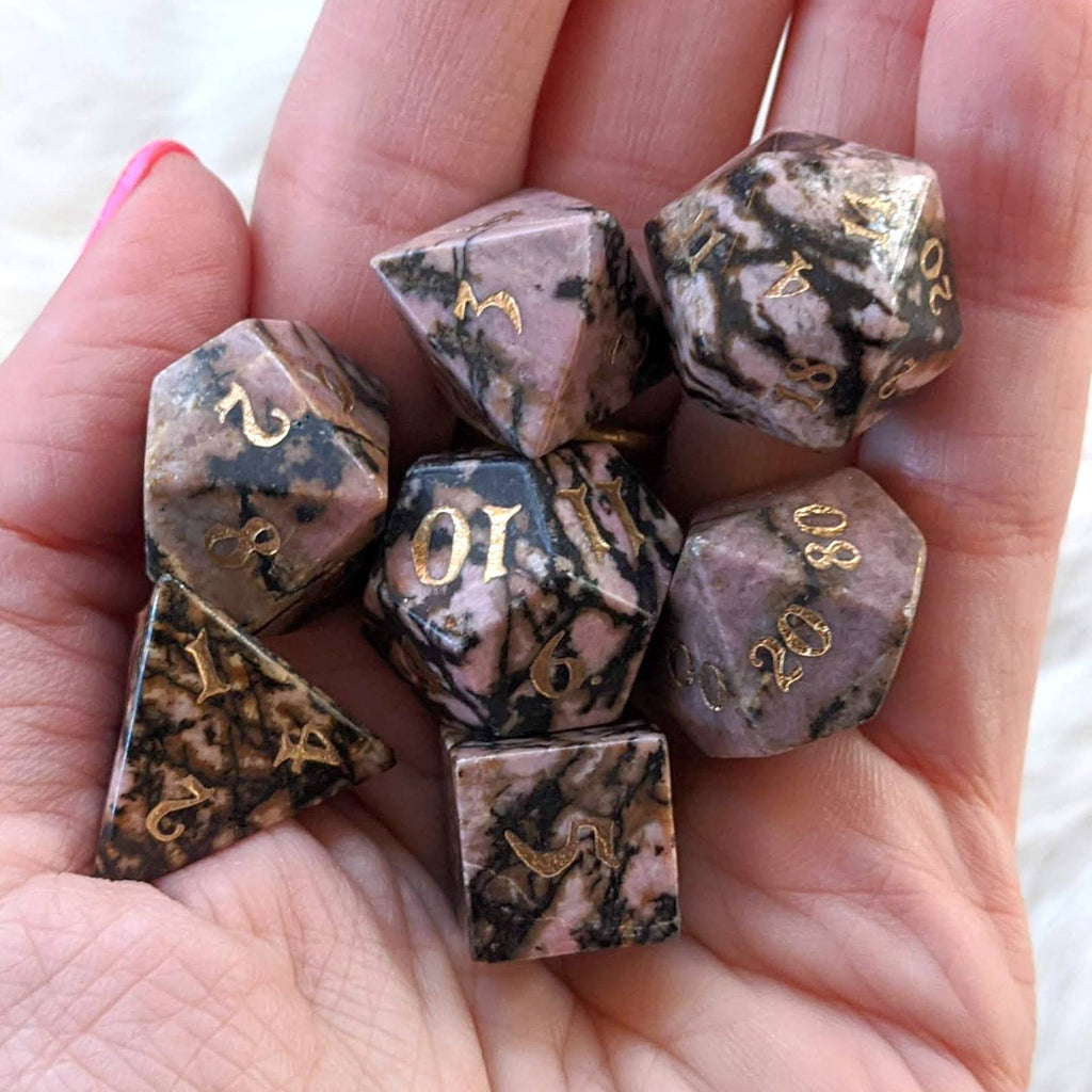 Rhodonite Dice Set. Real Gemstone 7 Piece TTRPG Dice - CozyGamer