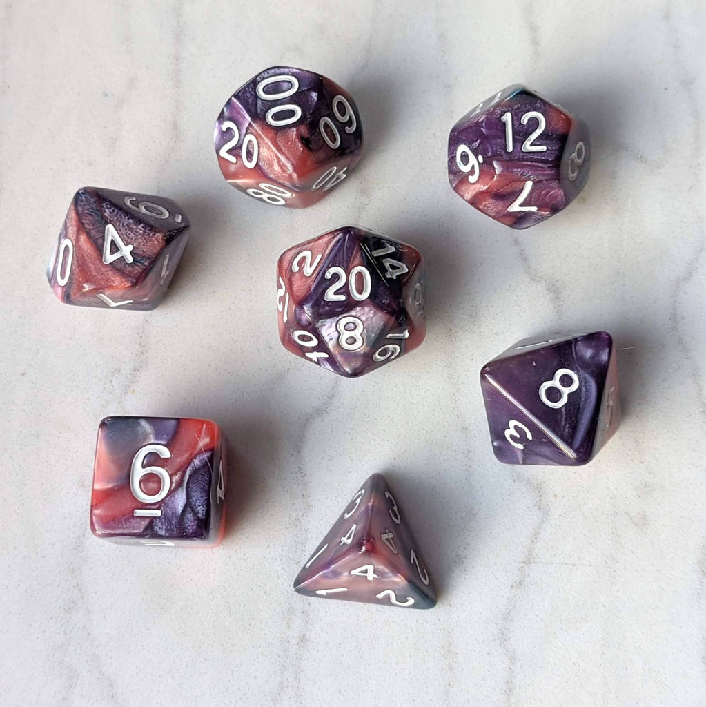 Purple and Rose Pearly Marbled Dice Set - CozyGamer