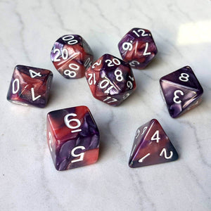 Purple and Rose Pearly Marbled Dice Set