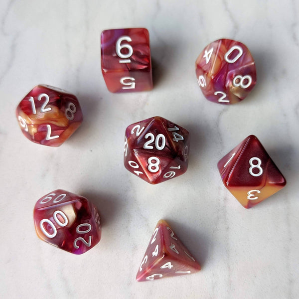 Red, Purple, and Gold Three Tone Marbled Dice Set