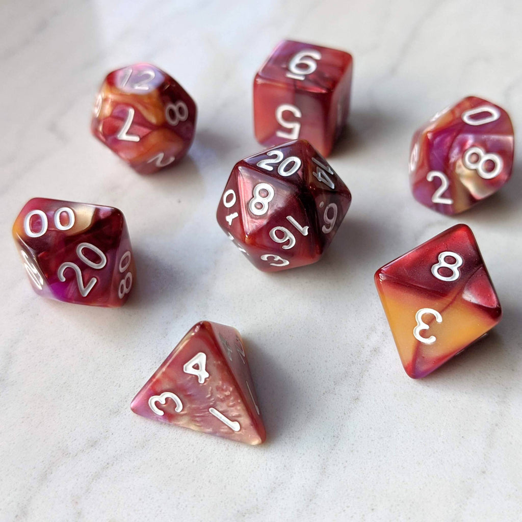 Red, Purple, and Gold Three Tone Marbled Dice Set - CozyGamer