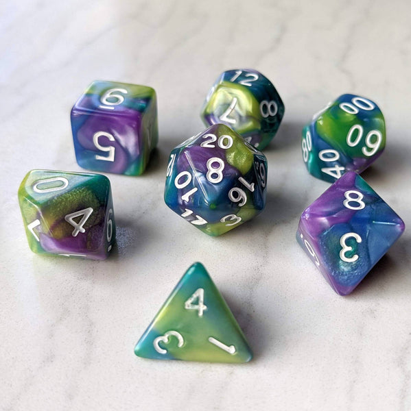 Green, Purple. and Blue Three Tone Marbled Dice Set