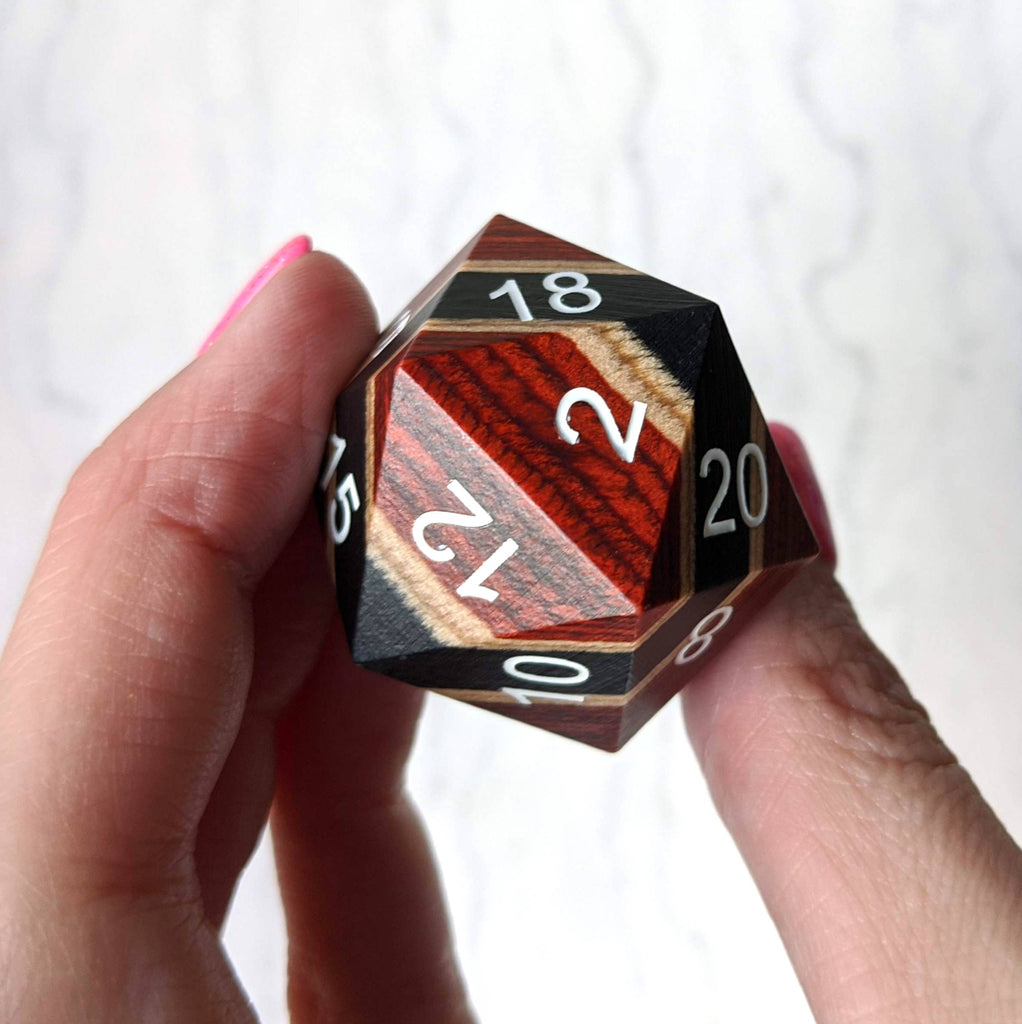 Red, Black, and Light Wood Stripe Large Wooden D20 - CozyGamer