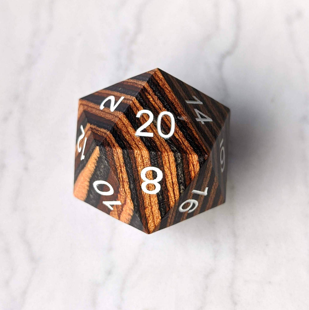 Brown and Tan Wood Stripe Large Wooden D20 - CozyGamer