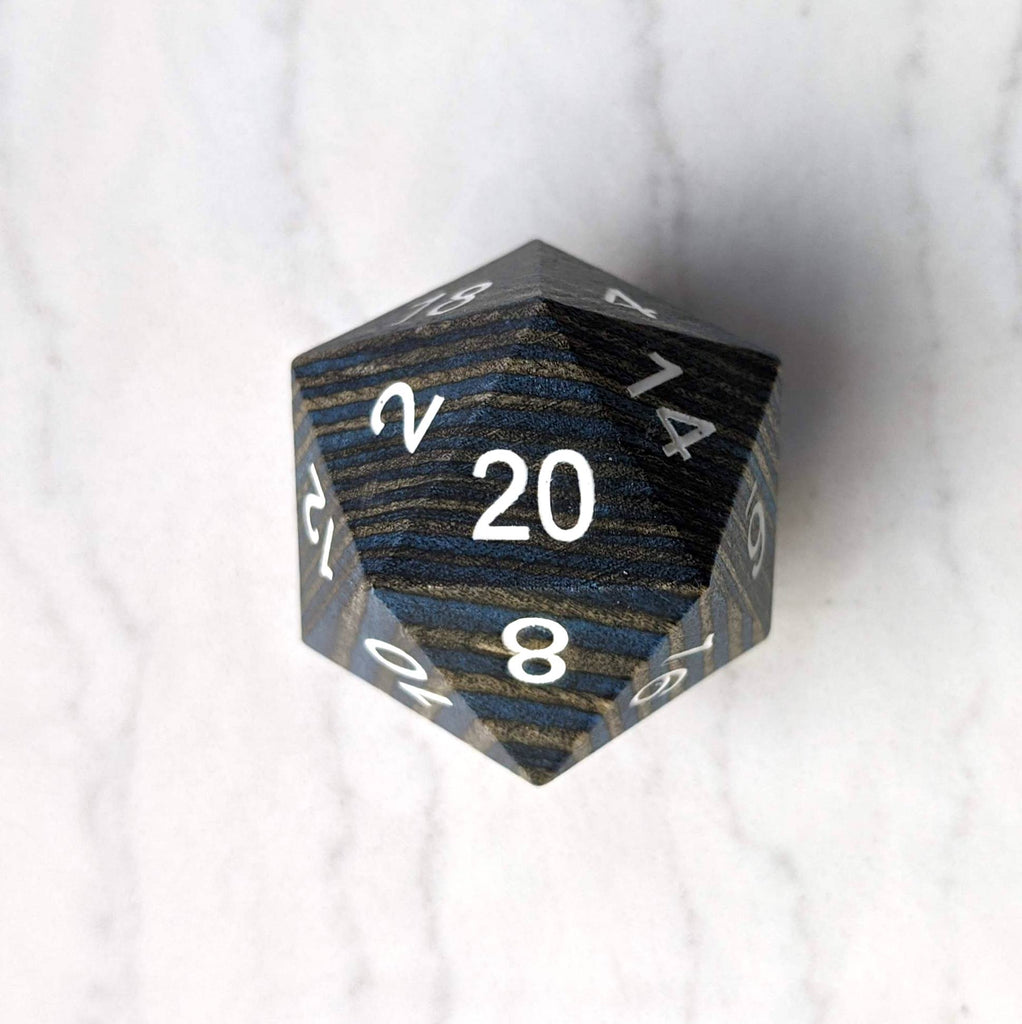 Dark Blue and Grey Wood Stripe Large Wooden D20 - CozyGamer