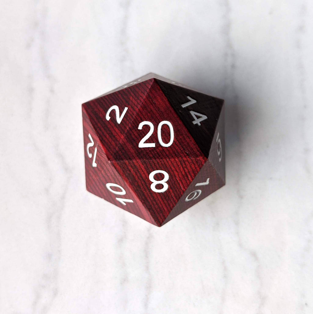 Bright Red Wood Stripe Large Wooden D20 - CozyGamer