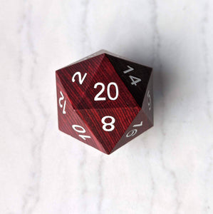 Bright Red Wood Stripe Large Wooden D20
