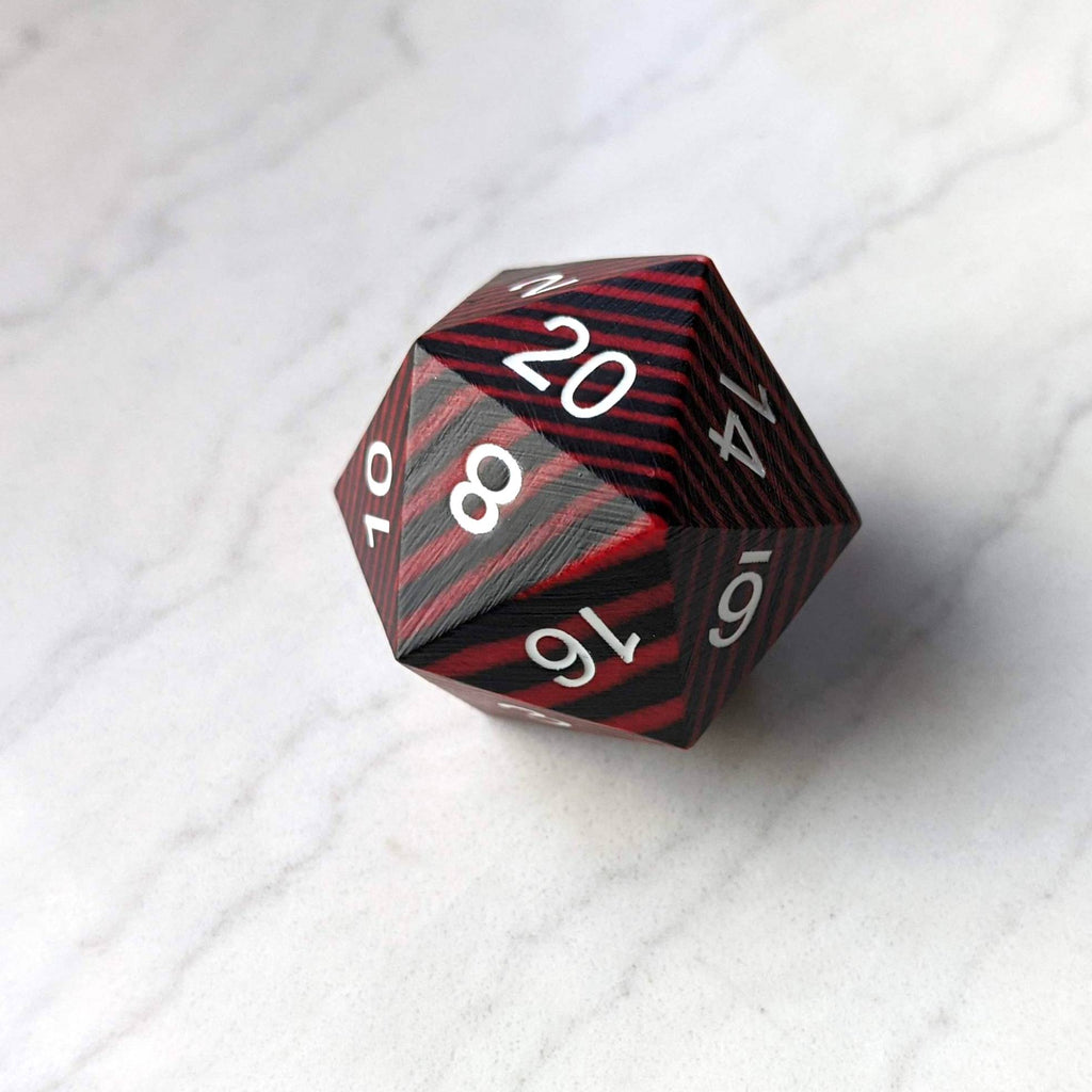 Red and Black Wood Stripe Large Wooden D20 - CozyGamer