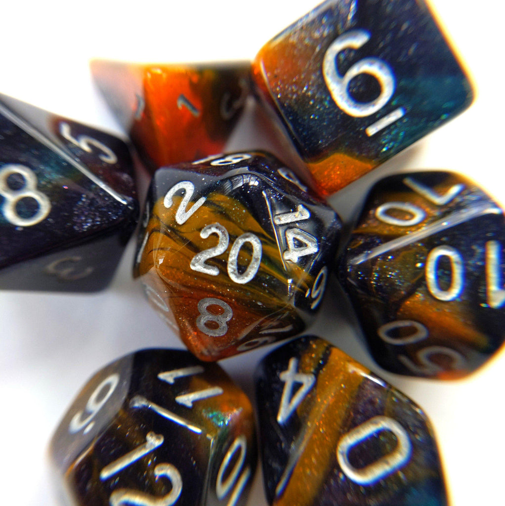Desert Eve Dice Set. Dark Blue and Orange Marbled Micro Shimmer - CozyGamer