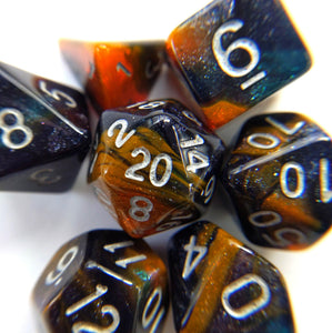Desert Eve Dice Set. Dark Blue and Orange Marbled Micro Shimmer