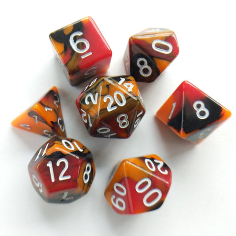 Lava Blast Dice Set. Red, Orange and Black Three Tone Marbled