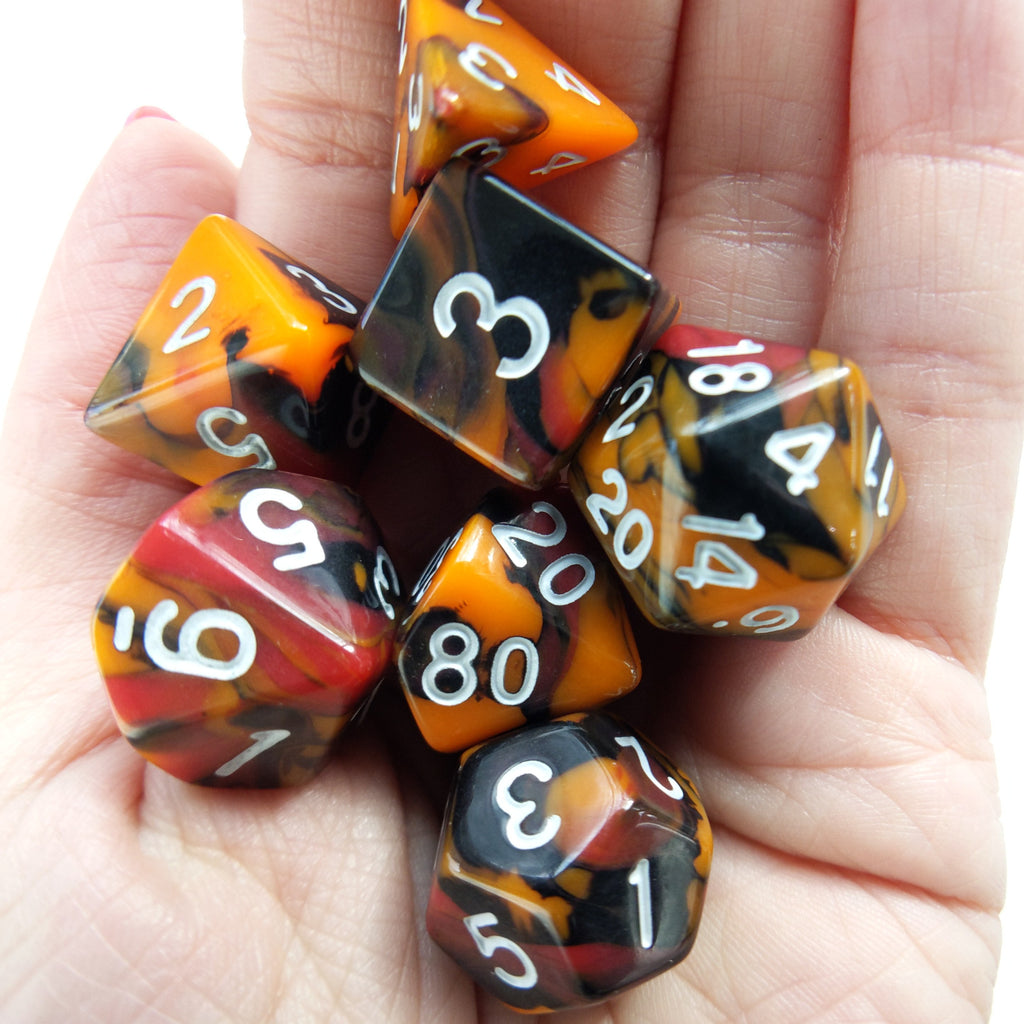 Lava Blast Dice Set. Red, Orange and Black Three Tone Marbled - CozyGamer