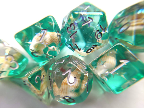 Green Conch Dice Set, Real Seashells from the Ocean