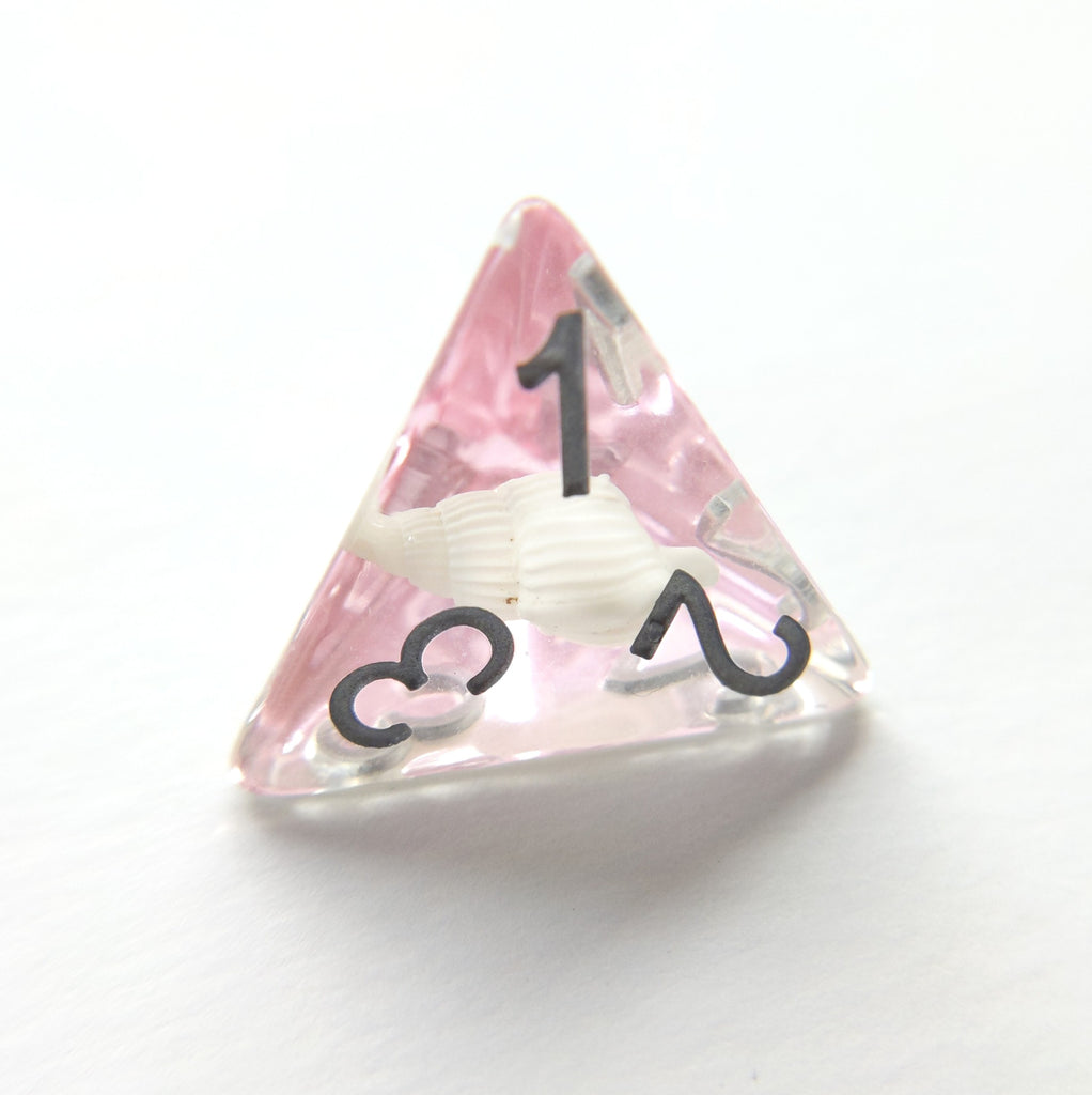 Pink Conch Dice Set, Real Seashells from the Ocean - CozyGamer