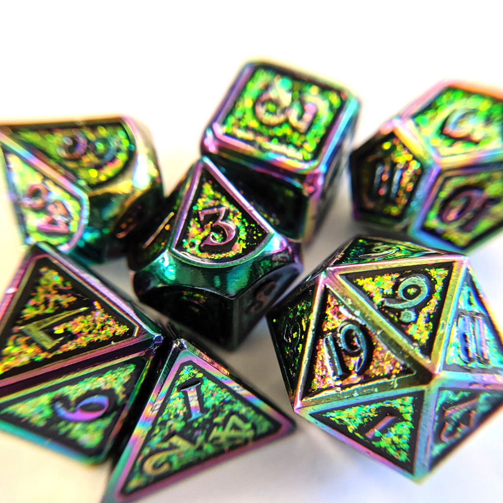 Shifting Rainbow Metal Dice Set with Rainbow Trim - CozyGamer