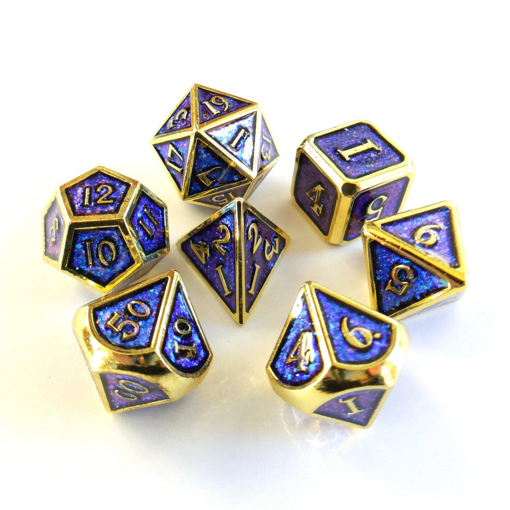 Blue Shifting Glitter Metal Dice Set with Gold Trim - CozyGamer
