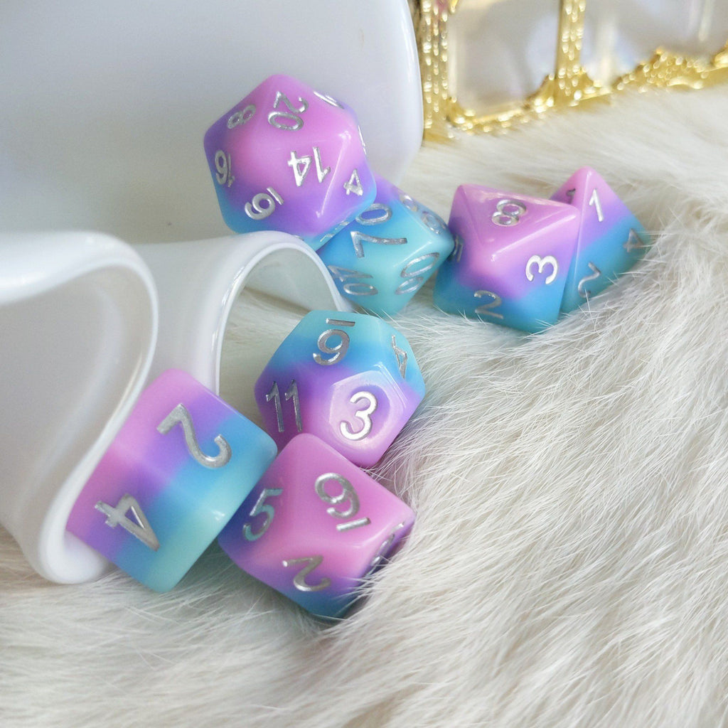 Fey Bloom Dice Set. Pink, purple, and blue layered dice set. - CozyGamer