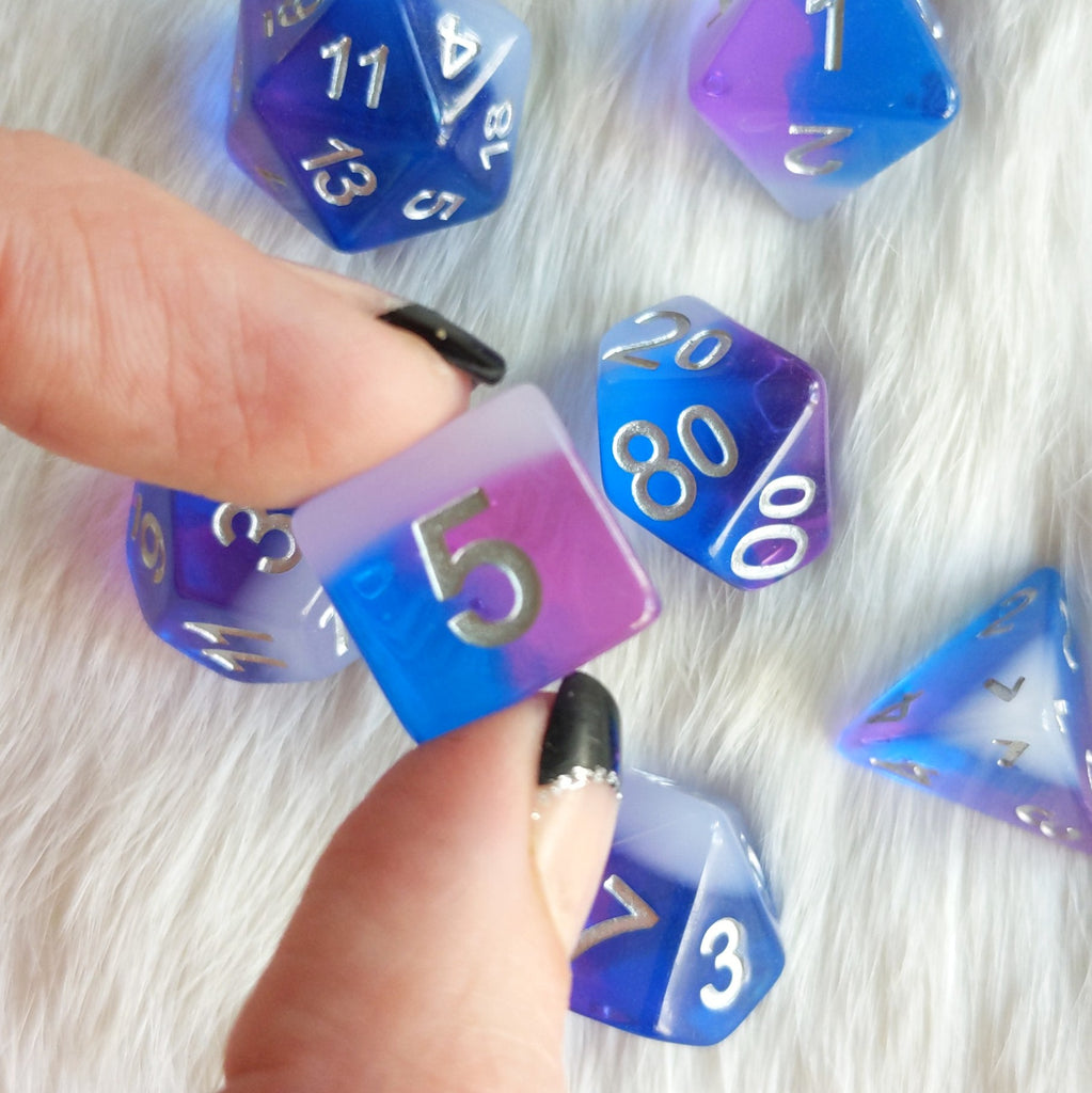 Fae Flash Dice Set. Blue, purple, and white dice set - CozyGamer