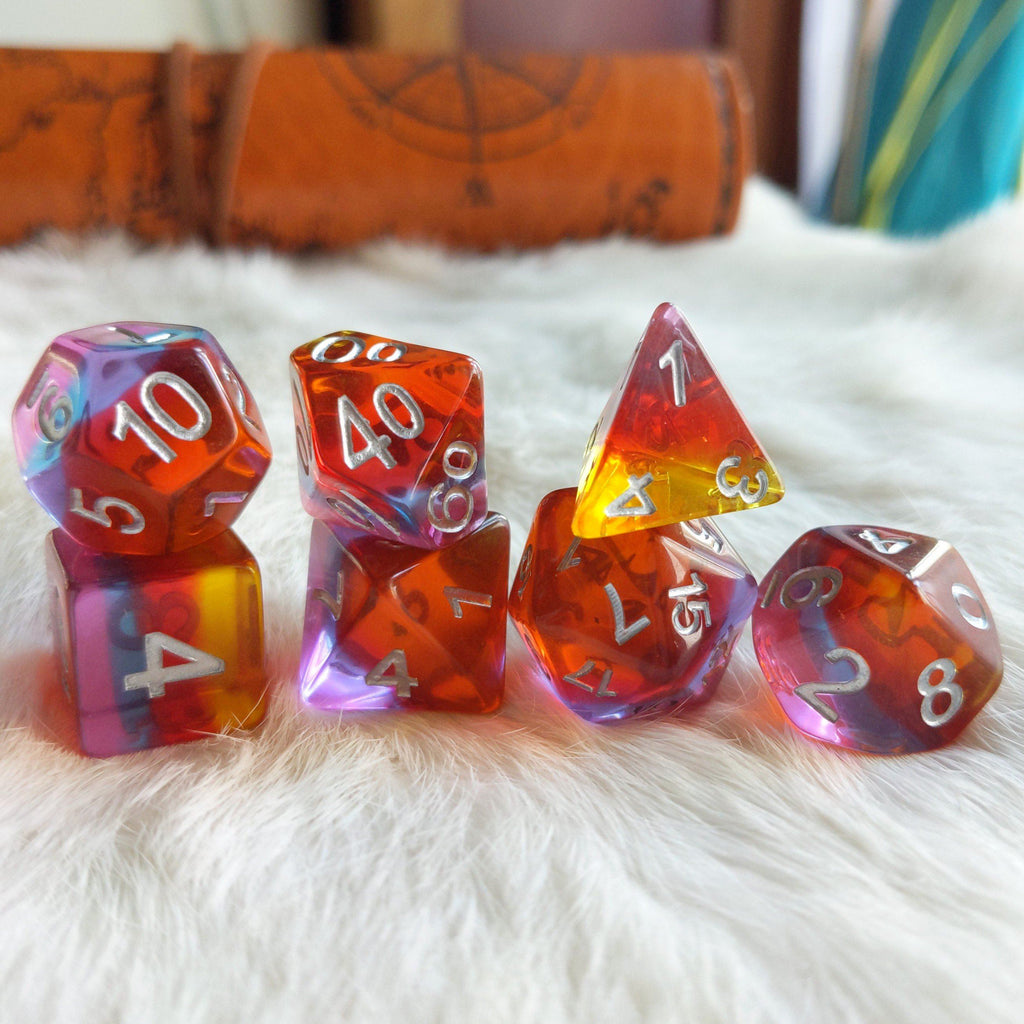 Golden Time Dice Set. Clear Layered Yellow, Red, Purple, and Pink Resin Dice Set - CozyGamer