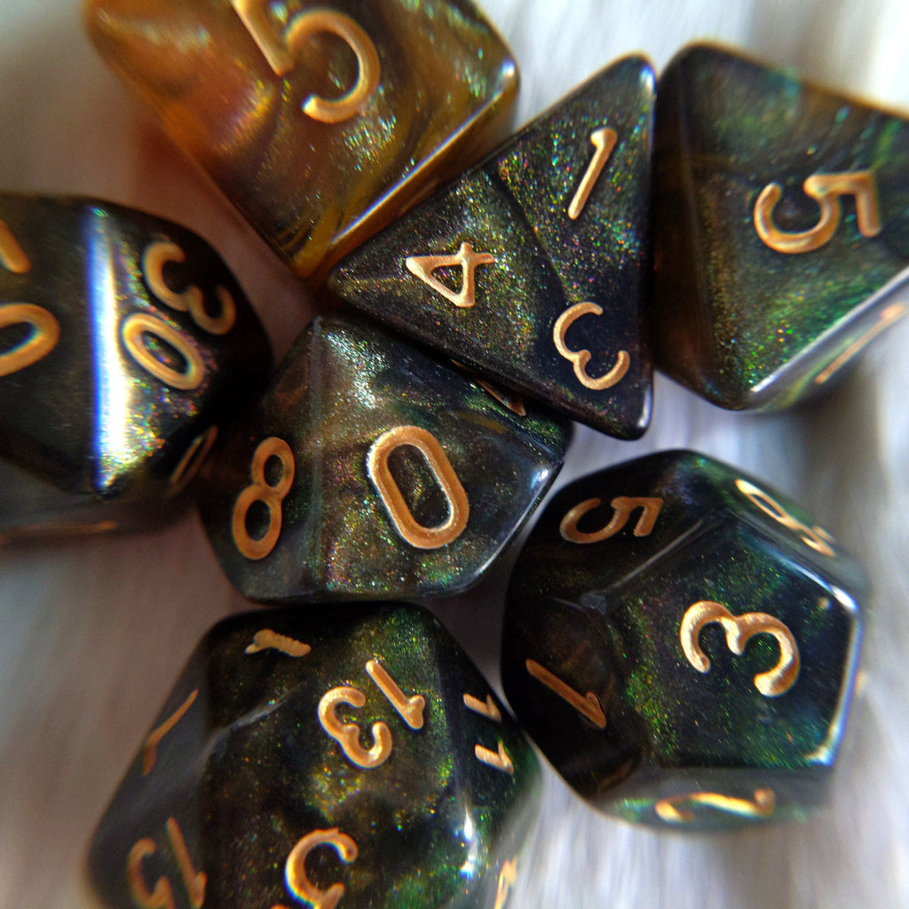 Nightingale Dice Set. Micro Shimmer Galaxy Dice - CozyGamer