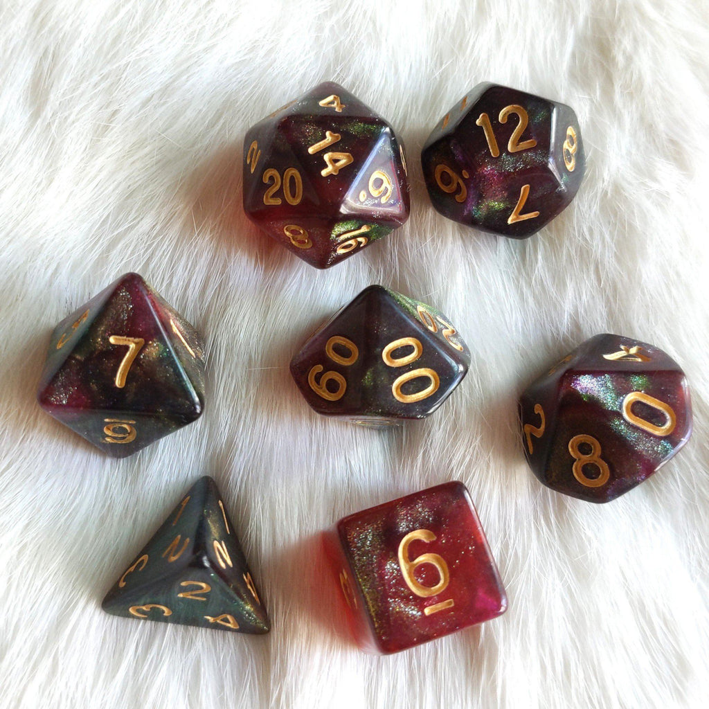 Midnight Rose Dice Set. Micro Shimmer Galaxy Dice - CozyGamer