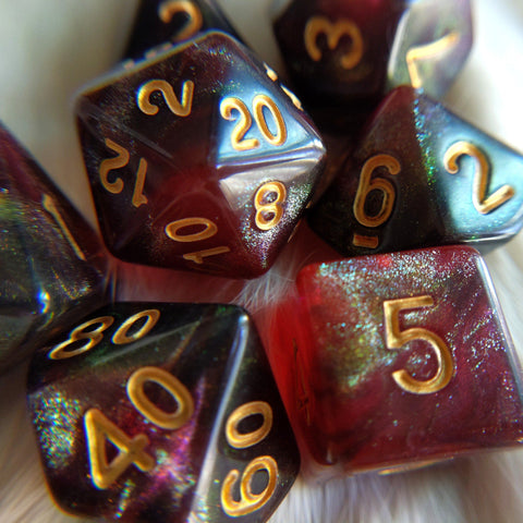 Midnight Rose Dice Set. Micro Shimmer Galaxy Dice