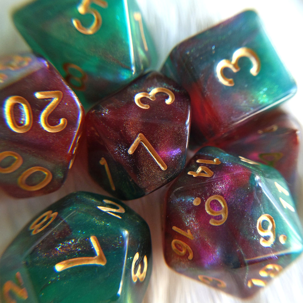 Elf's Dream Dice Set. Micro Shimmer Galaxy Dice - CozyGamer