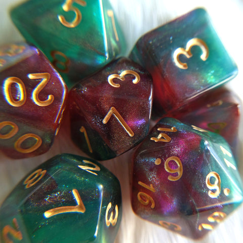 Elf's Dream Dice Set. Micro Shimmer Galaxy Dice