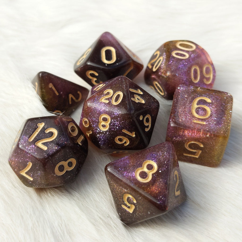 Mimic Dice Set. Micro Shimmer Galaxy Dice - CozyGamer