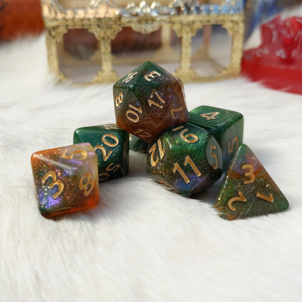 Forest Sky Dice Set. Micro Shimmer Galaxy Dice - CozyGamer