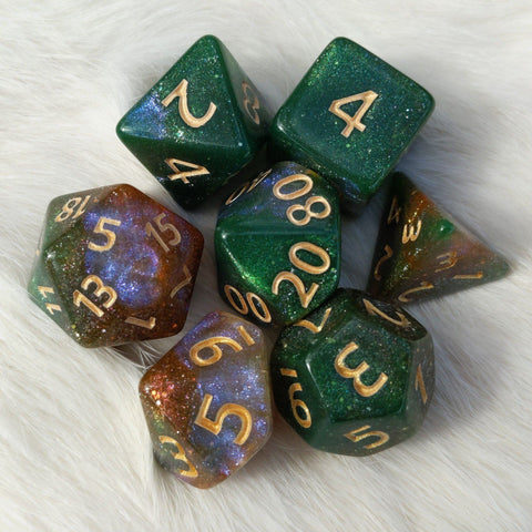 Forest Sky Dice Set. Micro Shimmer Galaxy Dice