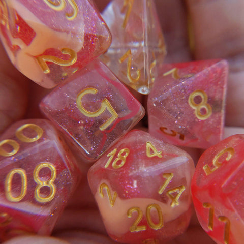 Tissue Dice Set. Micro Shimmer Suspended Ink Dice
